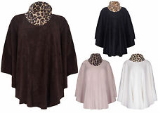 Womens New Animal Printed Cowl Neck Fleece Ladies Poncho Cape Top Plus One Size