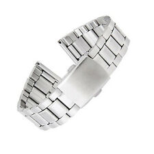 Mens Watch Strap Bracelet STAINLESS STEEL Band Deployment Buckle Straight End