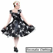 Hearts and Roses Black and White Floral Swing Dress 1950s Retro Rockabilly Pinup