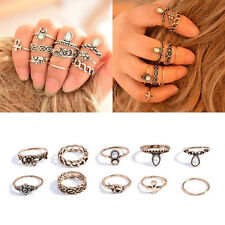 Punk Vintage Women Knuckle Rings Tribal Ethnic Hippie Stone Joint Ring Set