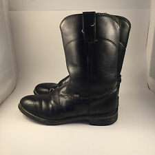 JUSTIN MENS BASICS ROPER BLACK WESTERN COW BOOTS SIZE 8 D