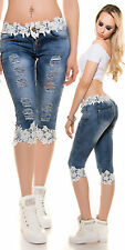 Sexy Women Blue Slim Skinny Capri Jeans Ladies Trouser Lace size 6 8 10 12 14 S
