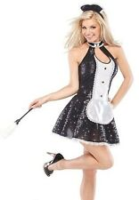 Sexy French Maid Costume Womens Fancy Dress Black Sequin Ladies Halloween Adult