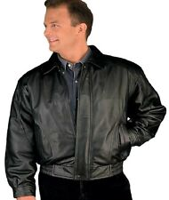 Reed American Style Bomber Jacket - Genuine Leather - Mens 1410z Black New wTags