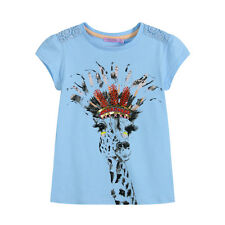NWT COTTON OLDER GIRLS GIRAFFE PRINT TEE, SKY/WHITE SIZE8-12 RRP$29.95 SS16719