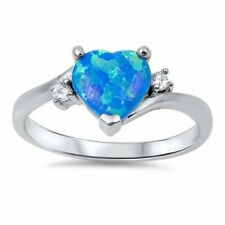 Promise Wedding Engagement Ring 925 Sterling Silver 0.74Ct Lab Opal Russian CZ