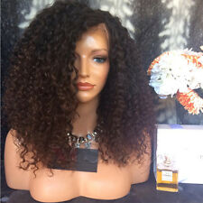 180 Two Tone Ombre Color Curly Lace Front Wigs Brazilian Virgin Human Hair Wigs