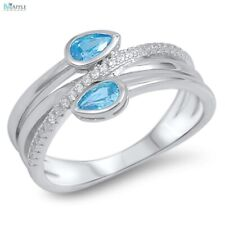 Fashion Ladies Stone Ring 925 Sterling Silver Aquamarine Russian CZ Jewelry Gift