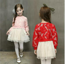 Kids Baby Girls Dress Long Sleeve Lace Crochet Flower Party Tulle Tutu Dresses