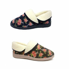 Ladies Womens New Dunlop House Slippers Wide Fit Soft Fur Slip On Washable Size