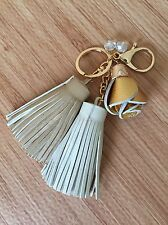 Faux Leather Flower Rose Tassel Key Chain Purse Handbag Fob Accessories