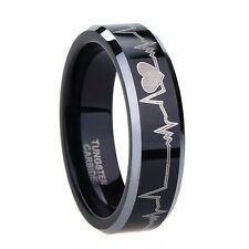 6mm/8mm Tungsten Carbide Ring Heartbeat Design Black Ring Wedding Band