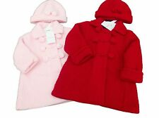 BNWT Baby girl pink or deep red thick knitted warm winter coat cardigan and hat