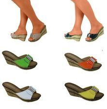 Womens Open Toe Wedge Heels Summer Ladies Slip On Sandals Shoes UK Size 3-8