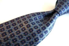"MINT RECENT Ermenegildo Zegna Blue Red Geometric Medallion Silk Tie 3.5"" Italy"
