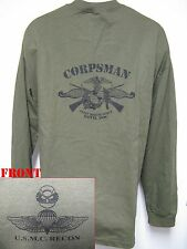 USMC RECON LONG SLEEVE T-SHIRT/ FMF CORPSMAN/ NAVY/ MILITARY/  NEW