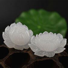 2pcs Beautiful unique white jade carved Snow lotus pendant bead Free shipping
