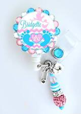 Labor and Delivery Nurse ID badge reel, baby feet badge Holder. BLING for NICU