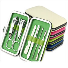 Cool 7pcs Manicure Set Nail Care Clippers Scissors Travel Grooming Kits Case C