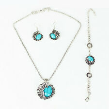 1Set Tibetan Silver Butterfly Round Turquoise Bracelet Earring Necklace Jewelry
