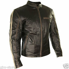 Xelement BXU1725 Mens Armored Brown Leather Motorcycle Jacket Beige Stripes