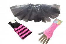 Neon Black Tutu Set 3 Layer Legwarmers Fishnet Gloves 80s Fancy Dress Hen Party