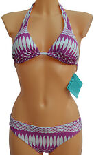 New Womens Sexy Abstract Print Padded Bikini Purple White Swimwear Beachwear
