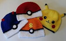 Pokemon Ball or Pikachu Hat All Sizes Available Handmade Crochet