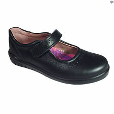 Ricosta Lillia Girls Black Leather School Shoes Sizes 27 - 35 Mary Jane Velcro
