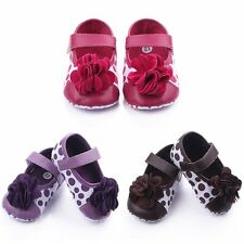 Toddler Baby Mary Jane Shoes Flower Polka Dot Soft Crib Girls Princess Shoes