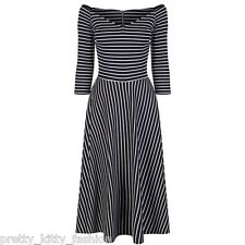 PRETTY KITTY ROCKABILLY 50s BLACK WHITE STRIPE SWING COCKTAIL PROM DRESS 10-16
