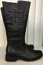TRIVIKA Knee High Riding Black Leather Boots Tractor Sole Extension Calf 7.5 10