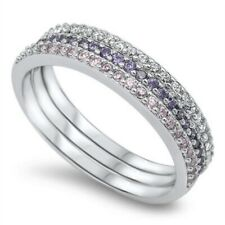 2MM Half Eternity Stackable Band Ring 925 Sterling Silver Amethyst Pink Topaz CZ