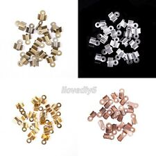 200Pcs 6x3mm Fold Over End Cord Findings Crimp End Beads For Jewelry