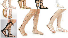 New Fashion Women Gladiator Sandals Knee High Open Toe Lace Up Flat Sandal Shoe