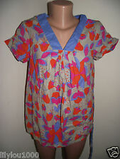 NEXT MATERNITY BLUE PRINTED LOOSE COTTON CAP SLEEVE TOP SIZE 12,14 NWT
