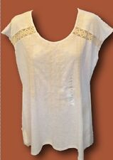 RBX Tunic Top Blouse Shirt Embroidered Lace White Womens NWT Aztec Sharkbite Hem