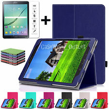 Leather Stand Folio Book Cover Case For Samsung Galaxy All Tab + Tempered Glass