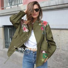 Womens Studded Embroidery Applique Drawstring Military Trench Parka Jacket Coat