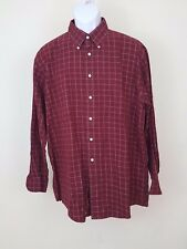 JOS. A. BANK Mens Burgundy Plaid Blue Striped Button Front l/s SHIRT Size M L