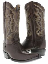 mens brown all real lizard armadillo skin leather western cowboy boots 3x toe