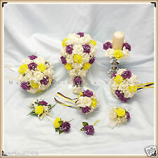 WEDDING FLOWERS PACKAGE BOUQUET BRIDE-BRIDESMAID-FLOWER GIRL, PLUM-YELLOW-IVORY