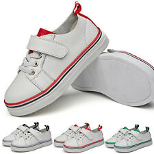New Sneakers White Leather Shoes Velcro Casual Shoes Boys Non Slip Children's