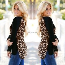 Stylish Womens Leopard Print Long Sleeve Casual Loose T-shirt Tops Blouse Hot