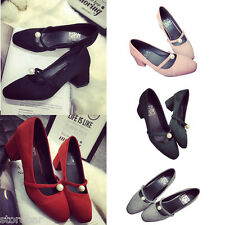 Sweet Womens Pumps Thick Heel Retro Vintage Suede Party Red Chic Shoes US 6 - 9