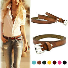 Women Fashion Casual Brown Thin Cow Leather Buckle Waist Belt Adjustable Belt