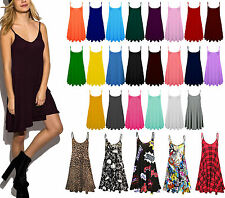 Ladies Camisole Cami Flared Skater Womens Strappy Vest Top Swing Mini Dress 8/26