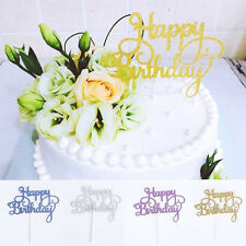 2PCS Cute Cake Topper Happy Birthday Party Supplies Decorations Kids Rose New