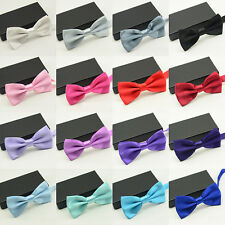 Men's Solid Color Classic Bowtie Pre Tied Wedding Tuxedo Satin Bow Tie Neckwear