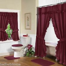 NEW BURGUNDY Lauren Double Swag Ruffle Shower Curtain with Liner & Tiebacks